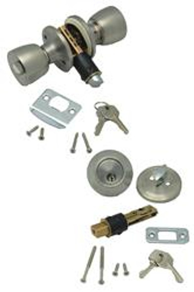 ENTRANCE KNOB AND DEADBOLT COMBO SET- STAINLESS STEEL