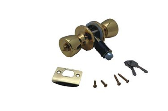 ENTRANCE KNOB LOCK SET- POLISHED BRASS
