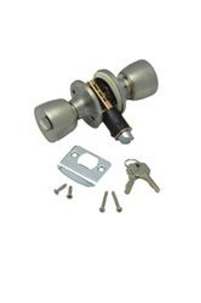 ENTRANCE KNOB LOCK SET- STAINLESS STEEL