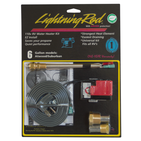 Electric Conversion Kit LIGHTNING ROD Water Heater 6 gallon Suburban/Atwood