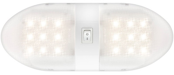 Optronics RVILL34 LED Double Interior Ceiling Light Fixture Camper Dome 12v Whit