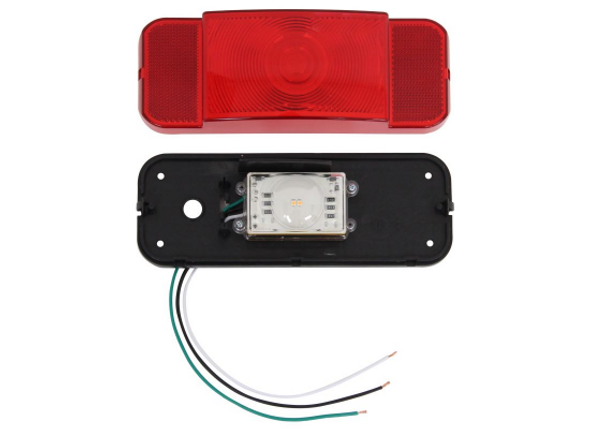 Set of Optronics LED Red Black Rect. Tail Lights Camper Trailer License Plate