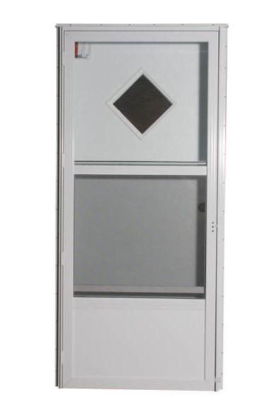 Combination Exterior Door with Diamond Window and Self Storing Storm