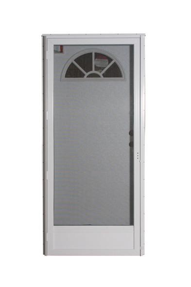 Combination Exterior Door with Fan Window and Self Storing Storm