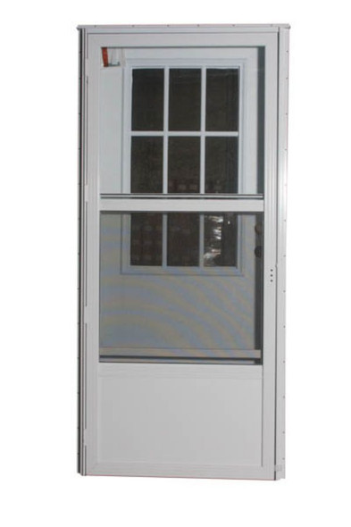 Combination Exterior Door with Cottage Window and Self Storing Storm