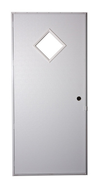 Exterior Out-Swing Door With Diamond Window