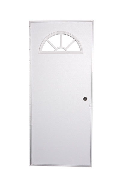 Exterior Out-Swing Door With Fan Window