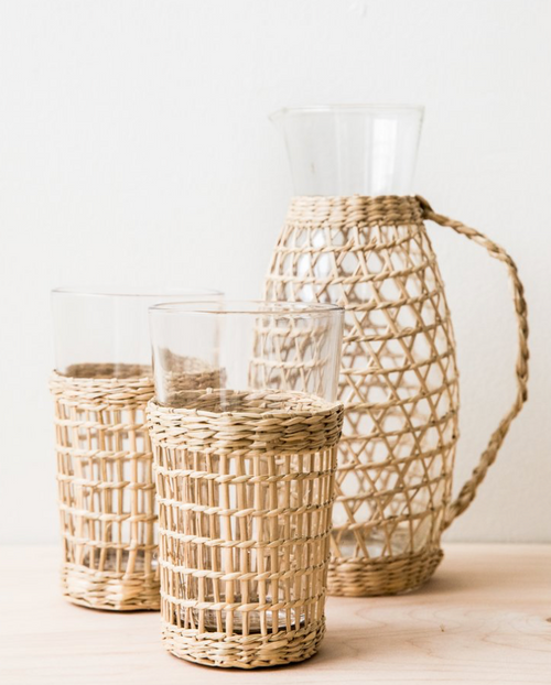 Pitcher w/ Seagrass Weave