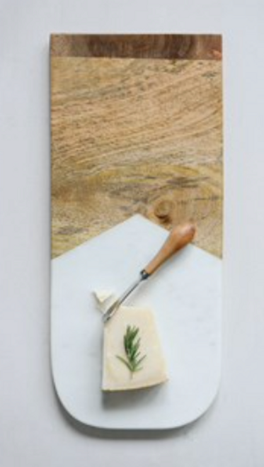 Marble and mango wood board s/2