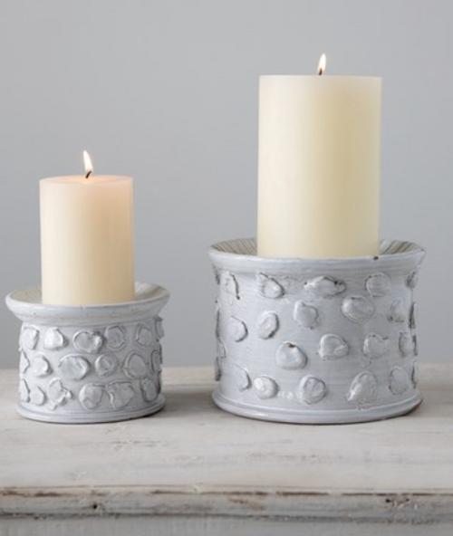 White Terracotta Candle Holder