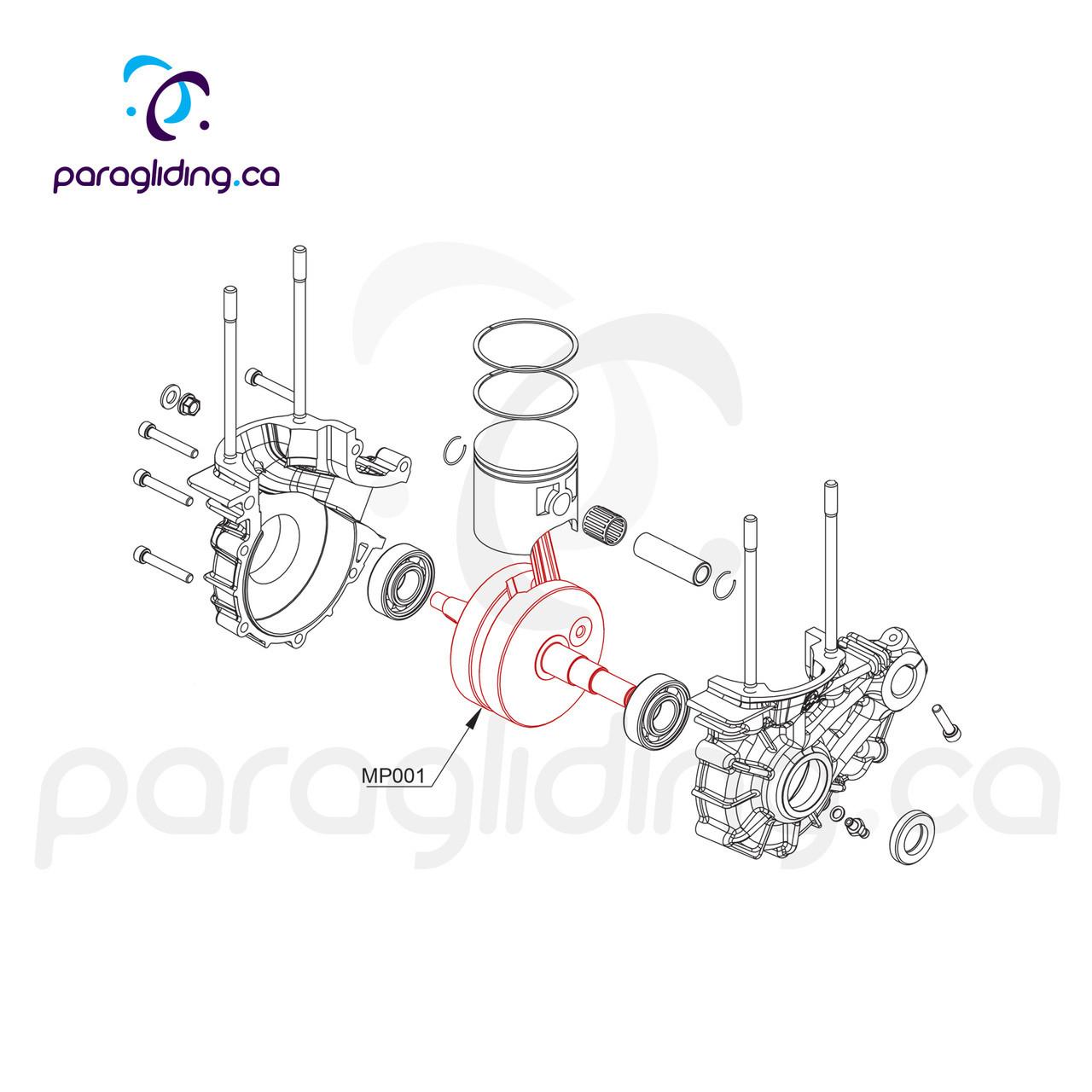 Crankshaft with push rod - Vittorazi Moster 185 - MP001