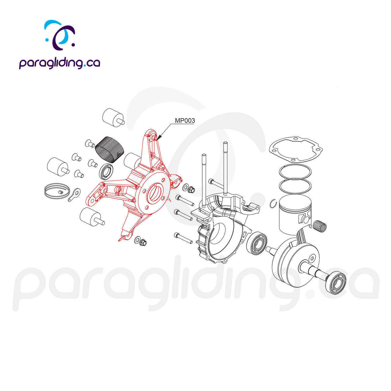 Engine carter support black, with oil seal - Vittorazi Moster 185 - MP003