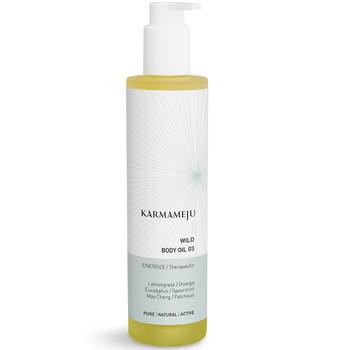 Karmameju WILD Body Oil  naturlig og vegansk kroppsolje med oppkvikkende sitrusduft trekker lett inn i huden.