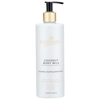 Eco by Sonya Coconut Body Milk vegansk og økologisk bodylotion med pumpe. Naturlig hudpleie for tørr hud og for hele familien. Bevarer brunfargen lenger.