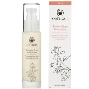 Odylique Timeless Rose Moisturizer er en naturlig fuktighetskrem som er perfekt for sensitiv hud og kan også være egnet for hud med rosacea. Den er laget for å passe til alle sensitive hudtyper inkludert kombinert, normal, tørr og moden hud. Dette er en lukseriøs dagkrem som er rik på antioksidanter og inneholder beroligende og gjenoppbyggende økologisk rose. Rose hjelper til med å roe ned rødhet samtidig som den stimulerer til hudens gjenoppbygging.