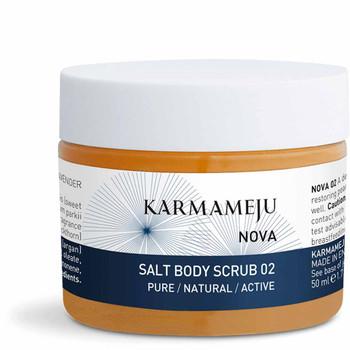 Karmameju NOVA Salt Body Scrub til kroppen kun naturlige ingredienser himalayasalt, arganolje og  tindvedolje forebygger strekkmerker