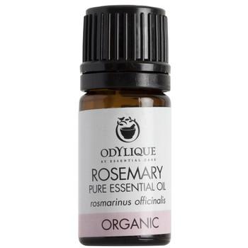 Odylique essensiell olje Rosmarin har en karakteristisk urtearoma. Den oppfriskende oljen kan virke lettende på tetthet (f.eks nese) og på muskelsmerter. Fungerer også ypperlig til håret. Unngå oljen i første trimester av svangerskap.