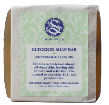 Soapwalla Lemongrass & Green Tea Soap Bar, 110 gr