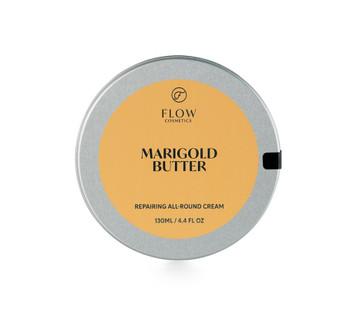 Flow Marigold Butter en reparerende allsidig balm med økologisk sheasmør, hudpleiende ringblomst og antiseptiske essensielle oljer som aktive ingredienser.