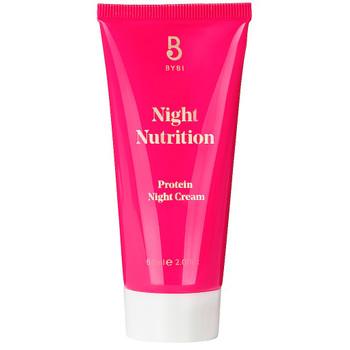 BYBI Beauty Night Nutrion en nattkrem med essensielle fettsyrer, vitaminer og ceramider. For alle hudtyper. Spesielt for tørr, sensitiv og irritert hud. Helt uten parfyme, eteriske oljer. Duftfri og vegansk.
