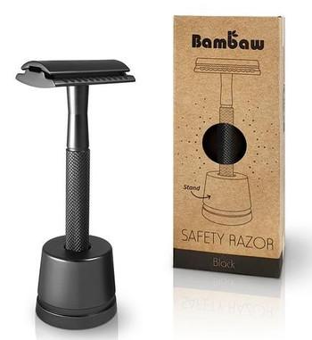 Bambaw Barberhøvel med fot, svart