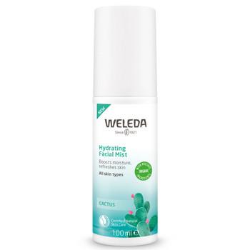 Weleda Cactus Hydrating Facial Mist med avkjølende aloe vera juice og Weledas egenutviklede konsentrerte ekstrakt av fikenkaktus (rik på fuktighetsgivende polysakkarider) får huden en sunn og fuktighetsmettet glød.