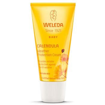 Weleda Calendula Weather Protection Cream er en helt naturlig krem som gir beskyttelse mot vær og vind. Kremen forebygger røde kinn og gir beskyttelse mot kulde og vind. Inneholder ren bivoks og hudvennlig ullvoks som danner en naturlig beskyttelse uten å påvirke hudens pusteevne og tette porene.