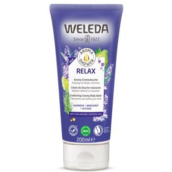 Weleda Aroma Shower Relax er en beroligende dusjkrem med naturlige ingredienser som pleier huden i kombinasjon med en nydelig duft skal være beroligende for sansene. Rengjør huden mildt med en base av mykgjørende solsikkeolje og naturlige sukkertensider.