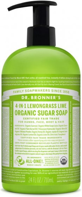 Dr. Bronner's Shikakai Sugar Soap Lemongrass/Lime, 355 ml
