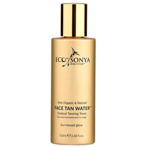 Eco by Sonya Face Tan Water økologisk og vegansk selvbruning som gradvis bygger brunfarge. Til daglig bruk. Gir glød og er helt uten lukt. For normal hud, tørr hud, kombinert hud, fet hud og sensitiv hud.