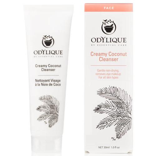 Odylique Creamy Coconut Cleanser, reisestørrelse, en mild, fuktighetgivende og beroligende ansiktsrens til lett reaktiv hud. Rensen inneholder rensende kokosolje, beroligende olivenolje og rosevann. Økologisk ansiktsrens for alle hudtyper, spesielt god på tørr, sensitiv og moden hud. Denne rensen har ingen spesiell lukt og vil passe fint også for de mest sensitive neser.