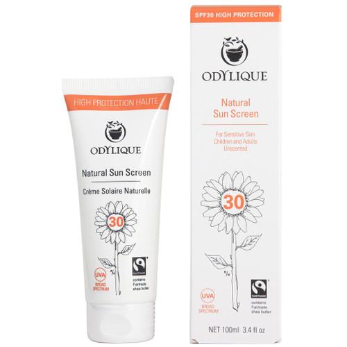 Odylique Naturlig Solkrem SPF30 laget av 100% naturlige ingredienser. Den er vegan, sertifisert økologisk og fairtrade! Den passer fint til sensitiv hud, kan brukes av hele familien inkludert de minste av oss. Kan brukes på ansikt og kropp.