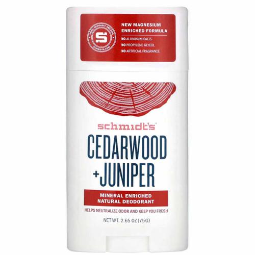 Schmidts Naturlig Deodorant Stick-Cedarwood & Juniper en deodorant for sensitiv hud. Helt naturlig og vegansk, helt uten aluminium. Deilig duft av sedertre og einer.