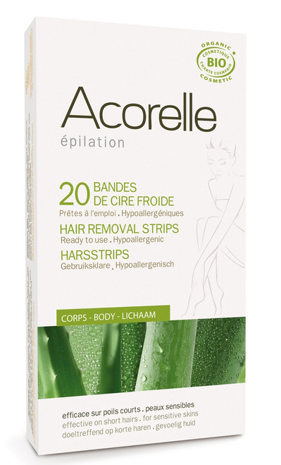 Acorelle Cold Wax Hair Removal Strips for kropp