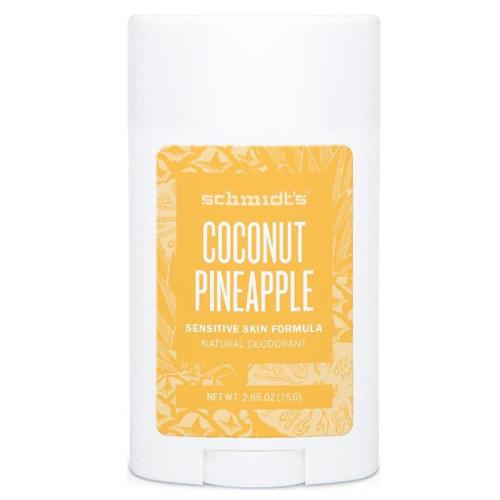 Schmidts Naturlig Deodorant Stick-Coconut & Pinapple er en deodorant for sensitiv hud helt uten natron og aluminium. Deilig lukt av ananas og kokos. Vegansk.