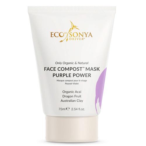 Eco by Sonya Face Compost Purple Powder Mask en dyptrensende vegansk lilla leire ansiktsmaske med spirulina. Gjør huden fresh og glødende. For sensitiv hud, fet hud, tørr hud, kombinert hud og normal hud.