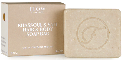 Flow Rhassoul & Salt Shampoo Bar for sensitiv hud og hodebunn, 120 gr