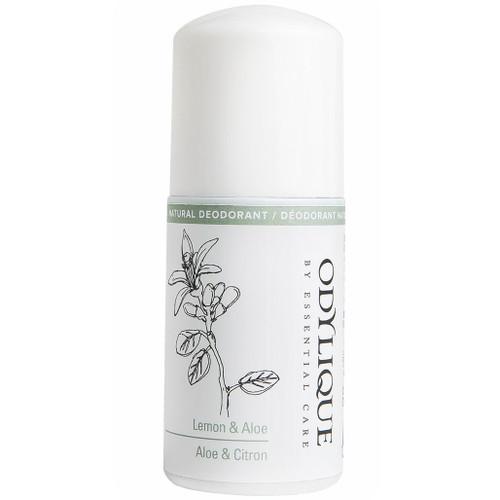 Odylique Lemon & Aloe Vera Natural Deodorant er en helt naturlig, unisex og vegansk deodorant i rollon-form som er egnet for alle hudtyper, inkludert sensitiv hud.  Deodoranten er full av vitaminer og mineraler fra økologisk kokosolje, alovera, ringblomst og sinkoksid som lager en lett lotionaktig konsistens som gir næring til huden igjennom dagen. Deodoranten kan faktisk bidra til å lindre armhuler som lett klør og blir røde.