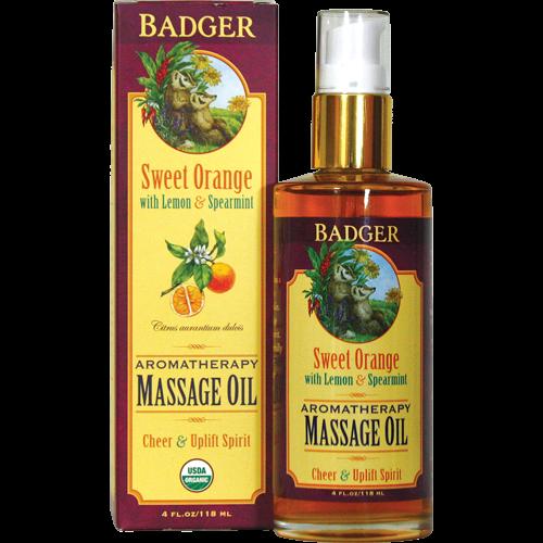 Badger Aromaterapeutisk Massasjeolje, Søtappelsin, 118 ml