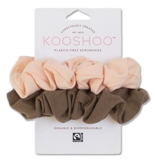 Kooshoo Scrunchies Hårstrikk uten plast, Blush Walnut