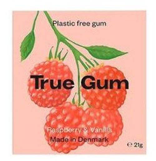 TRUE GUM Bringebær og Vanilje-Plastfri Tyggis, 21g