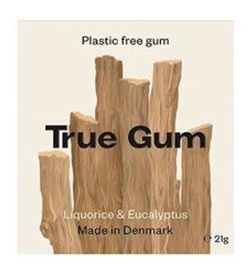TRUE GUM Lakris & Eukalyptus-Plastfri Tyggis, 21g