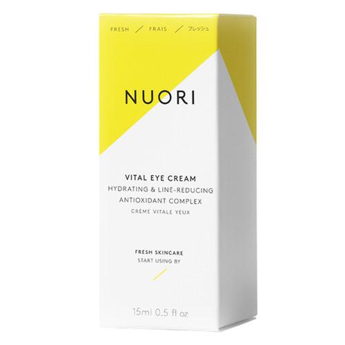 NUORI Vital Eye Cream er en naturlig dagkrem med hyaluronsyre, C-vitamin og sheasmør om bidrar til å redusere de første aldringstegnene. eske.