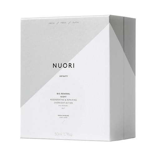 NUORI Infinity Bio-Renewal Night inneholder effektive ingredienser som niacinamide, squalane, hyaluronsyre og flere antioksidanter m.m.