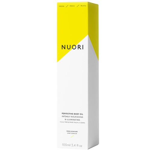 NUORI Perfecting Body Oil er en naturlig kroppsolje som trekker lett inn. Inneholder økologisk nypeolje. eske.