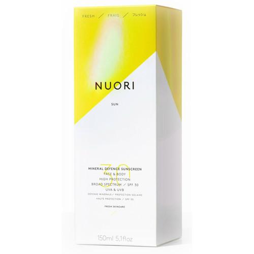 NUORI Mineral Defence Sunscreen Face & Body SPF30 er en naturlig, trygg solkrem til ansikt og kroppen. Fysisk UV-filter. Reef Friendly. eske.