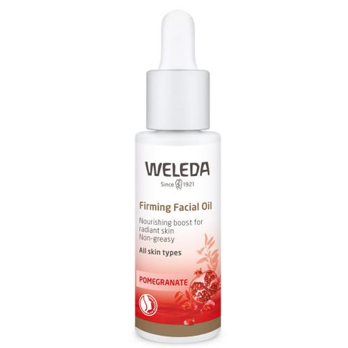Weleda  Pomegranate Firming Facial Oil har en eksklusiv blanding av dyrbare oljer fra granateple, aprikoskjerner, avokado og argan-nøtter. Gir økt elastisitet og glød.