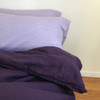 aubergine duvet cover and lavender shams