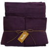 "100% linen sheet set-Aubergine Twin 18"" King Shams"