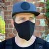 black linen hipster face mask with filter large